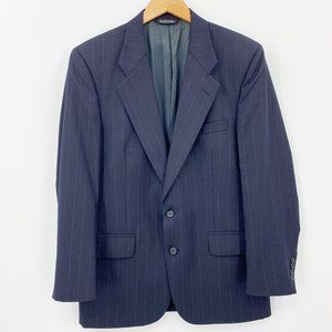 Vintage Burberry Navy Striped Wool Sport Coat